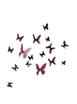 Ambiance Sticker Wandtattoo 18 tlg. Set 3D Adhesive Butterflies Chic Translucid