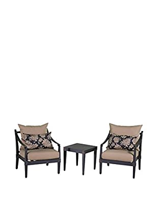 RST Brands Astoria Set of 2 Club Chairs & Side Table, Beige