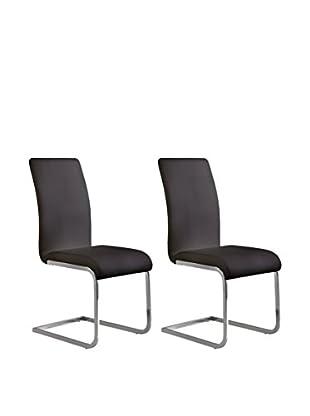 Armen Living Set of 2 Amanda Side Chairs, Black