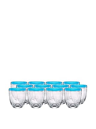 Artland Festival Set of 12 Double Old Fashioned Glasses, Peacock