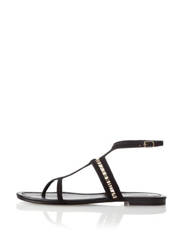 Sigerson Morrison Women's Kade Flat Sandal (Black Suede)