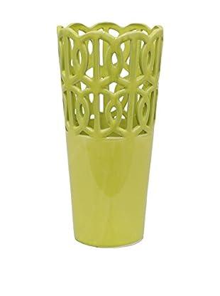 Three Hands Skinny Openwork Ceramic Vase, Green