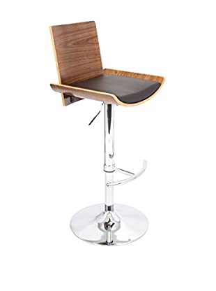 LumiSource Vittorio Bar Stool, Walnut/Brown