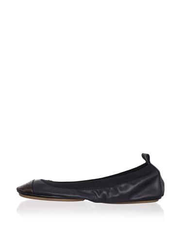 Yosi Samra Women's Cap-Toe Ballet Flat (Black/Bronze)