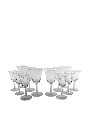 Set of 12 Wine & Cordial Glasses, Clear