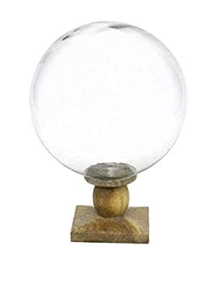 Three Hands Glass Sphere with Wood Base