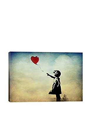 Girl With A Balloon Watercolor Gallery Wrapped Canvas Print