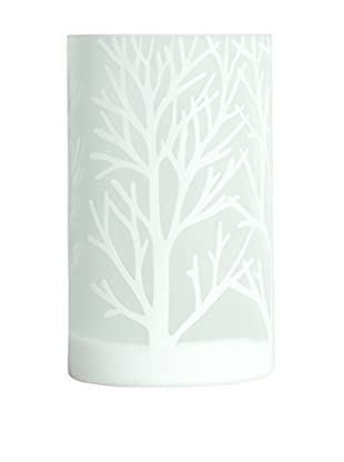 Torre & Tagus Medium Etched Tree Glass Vase, White
