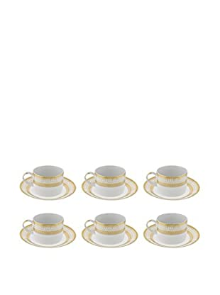10 Strawberry Street Set of 6 Iriana Can Cup/Saucers (White/Gold)