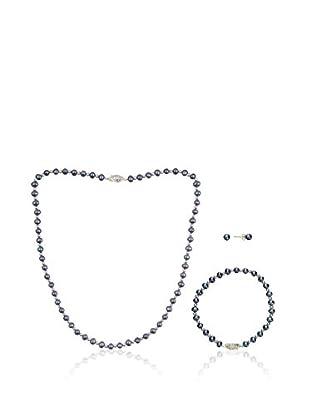 United Pearl Set catenina, pendente e orecchini Blu Grigio