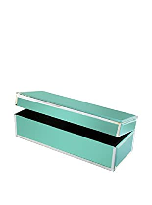 American Atelier Rectangle Jewelry Box with Piping, Teal