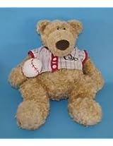 "Gund Pottery Barn Kids Baseball Sports Clancy Tan Teddy Bear 10"" Sitting Plush"
