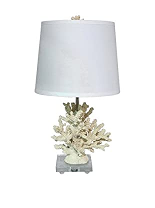 Three Hands Coral Look Table Lamp, White
