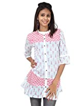 Rajrang Cotton Kurti - PTP00109 (Pink And White)