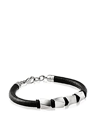 Stephen Oliver Men's Black Leather Studded Bracelet