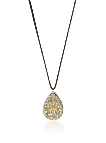 Presh Canary Teardrop Pendant Necklace, Silver