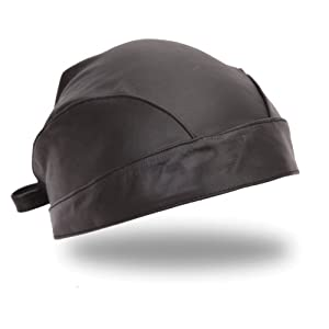 First Manufacturing Solid Leather Skull Cap, Black