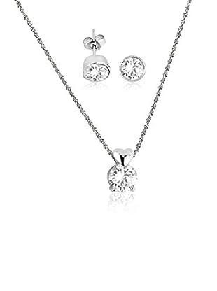 Shiny Cristal Set Kette, Anhänger und Ohrringe rhodiniertes Silber 925