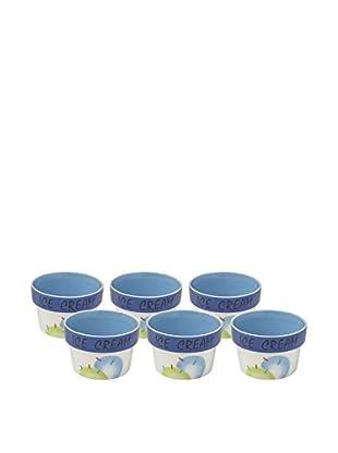 Woodard & Charles Set of 6 Ice Cream Bowls, Blue