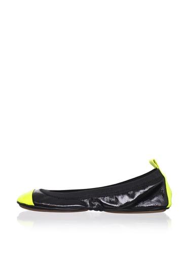 Yosi Samra Women's Patent Two-Tone Ballet Flat (Black/yellow)