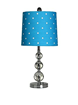 StyleCraft Stacked Sphere 1-Light Table Lamp, Chrome/Ocean Blue/Clear