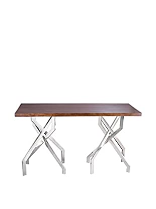 Artistic Stick Leggy Modern Console Table, Natural/Stainless Steel