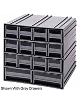 Quantum QIC-4244IV Interlocking Gray Storage Cabinet with 8 Ivory Drawers, 11.38-Inch by 11-3/4-Inch by 11-Inch
