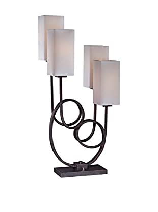Lite Source Taisiya 4 Light Table Lamp, Antique Bronze/White