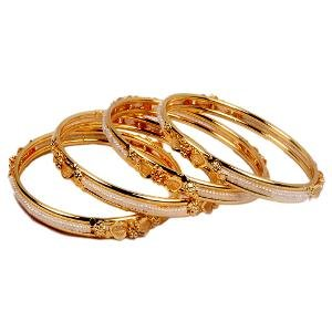 Pourni Gold Plated Pearls Bangles