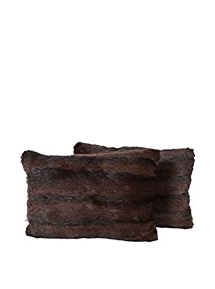 Set of 2 Brown Mink Pillows, Pair III, 14