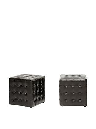 Baxton Studio Set of 2 Siskal Modern Cube Ottomans, Dark Brown