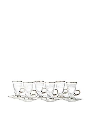 A Casa K Totem Set of 6 Hand Cut Crystal & Platinum Vespucci Tea Cups & Saucers