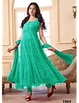VandV Cyan Designer Long Anarkali Suit