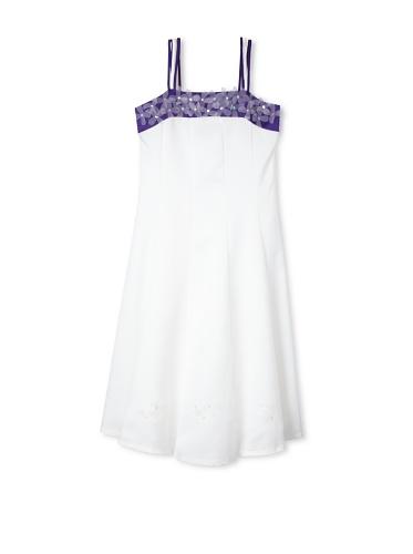 Jellybean of Miami Girl's Plus Size Spaghetti Strap Dress (Ivory/Purple)