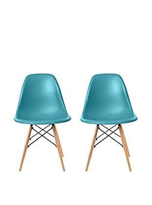 Euro Home Collection Set of 2 Paris Side Chairs, Blue