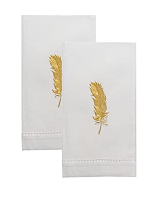 Henry Handwork Set of 2 Golden Feather Embroidered Hand Towels, White