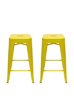 Aeon Euro Home Collection Set of 2 Galaxy Counter Stools, Yellow