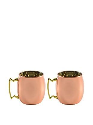 10 Strawberry Street Set of 2 Classic Mugs, Copper