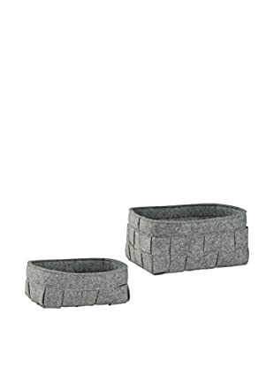 Organize It All Set of 2 Assorted Felt Baskets, Grey