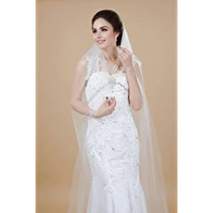 Elegant White/Ivory Two-tier Cathedral 8.91 Feet Wedding Veil With Comb For B