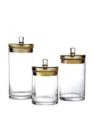 Jay Imports 3-Piece Glass Canister Set with Gold-Tone Lids