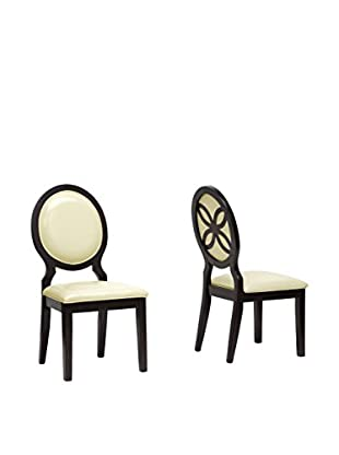 Baxton Studio Set of 2 Vandegriff Dining Chairs, Brown/Ivory