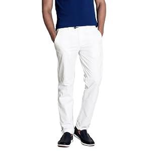 Basics Men's Casual Trouser (White) (8903580907603)