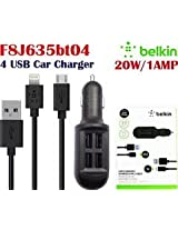Belkin 20W 2.1A 4 Port Usb Car Charger V8 + 8 Pin Cable For Iphone 5S S4 S3 HTC