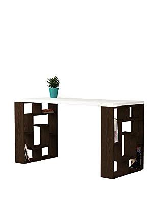 Decortie Schreibtisch Labirent weiß/dunkelbraun