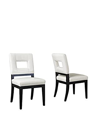 Baxton Studio Set of 2 Diaz Leather Dining Chairs, White