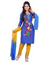 7 Colors Lifestyle Blue Coloured Cotton Unstitched Churidar Material - ACSDR2202K12