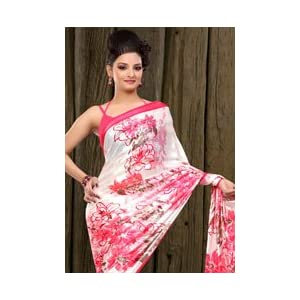 Brasso Saree with Blouse - Off White and Pink