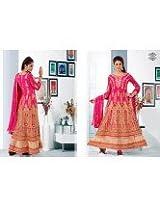Designer Semi Stitched Pink Anarkali Salwar Suit