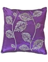 Decorative Silver Leaves Embroidery with Piping Floral Throw Pillow COVER 18 Purple